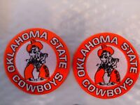 """(2) OSU OKLAHOMA STATE COWBOYS VINTAGE EMBROIDERED IRON ON PATCH LOT PATCHES 3"""""""