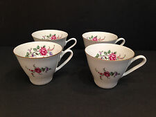 Vintage WLOCLAWEK Made in Poland ROSE Pattern TEA CUPS China Porcelana Porcelain