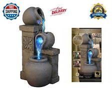 LED Rustic Vase Indoor Water Fountain Tabletop Waterfall Relaxation decor