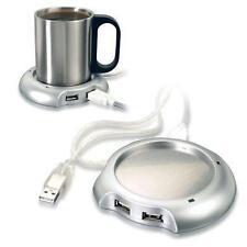 USB Tea Coffee Cup Mug Warmer Heater Pad with 4 Port USB Hub PC Laptop Chocolate