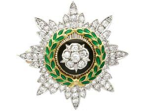 1.02ct Diamond and Enamel 14k Yellow Gold Sweetheart Brooch Antique Circa 1920