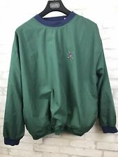 Vintage Bugle Boy Classics Pullover Golf Wind Breaker Green and Blue Men Size XL