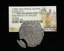 FRANCE. Charles VI, 1380-1422, Silver Blanc Guenar, NGC
