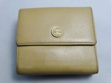 US SELLER Authentic CHANEL WALLET BEIGE LEATHER COCO BUTTON