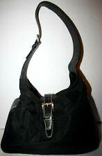 PRADA Black Nylon Leather Hobo Bag Purse Shoulder Handbag Vintage Rare!