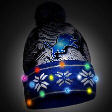 Detroit Lions Big Logo Light Up Printed Beanie Winter Hat Toque Cuffed Pom New