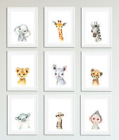 Watercolour Baby Safari Animal Prints, Cute Nursery / Bedroom Art, Kids Unisex