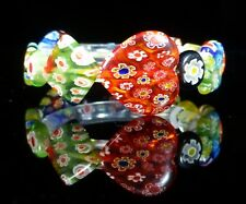 Murano Heart Glass Millefiori Bracelet Rainbow Costume Jewellery