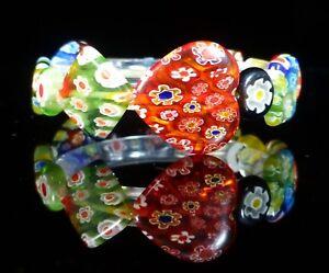 Murano Heart Glass Millefiori Bracelet Rainbow Costume Jewellery