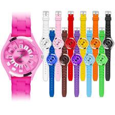 Silikon Armbanduhr Damen Gummi Bunte Trend Uhr Watch Blumen Fashion Style