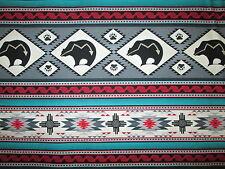 Navajo Native American Totem Bear Border Grey Teal Cotton Fabric BTHY
