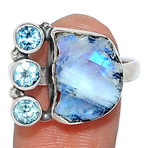 Moonstone Rough - India & Blue Topaz 925 Silver Ring Jewelry s.9 BR108481