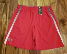 NWT Men's UNDER ARMOUR Red Gray Heat Gear Loose Active Shorts Size XL X-Large