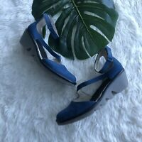 Fly London Women's Plan717Fly Size 37 Ankle Strap Wedge Blue