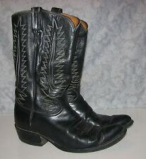 VINTAGE 1970s MEN'S Tony Lama Size 10 D BLACK Leather 6213 Cowboy Boots