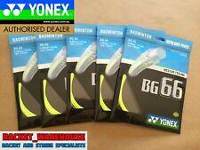 5 x PACKETS YONEX BG66 BADMINTON RACKET STRING YELLOW 100% GENUINE MADE IN JAPAN