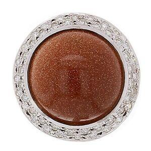 14k White Gold 0.60ctw Diamond & Goldstone Glass Cabochon Cocktail Ring Size 6