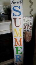 """Summer Porch Sign Large Rustic Wood 48"""" Primitive Distressed Sweet Summer Time"""