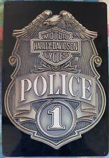 Ande Rooney HARLEY DAVIDSON POLICE BADGE Tin Motorcycle Officer Garage Sign