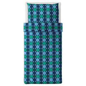 Ikea Krokuslilja Bettwäscheset, 2-teilig, blau/ grün , 140x200/80x80 cm Neu
