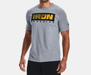 Under Armour Men's UA Heatgear Project Rock Iron Paradise T Shirt. Steel
