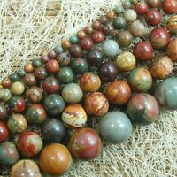 "Natural Picasso Jasper Gemstone Round Beads 15"" 4mm 6mm 8mm 10mm 12mm 14mm 16mm"
