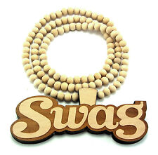 "Wood Swag Pendant Piece 36"" Chain Necklace Good Quality Wood Style Swagger Swagg"