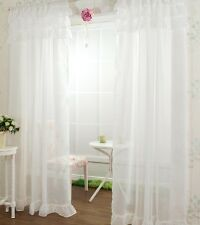 2 X 140 245 Cm Sheer Voile Window White Ruffle Curtains Princess Rod Pocket
