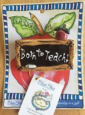 TEACHER PIN BROOCH LAPEL GIFT Born To Teach Chalkboard