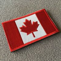 Embroidered Canada Canadian Flag Tactical Morale Hook Loop Patch Red/White