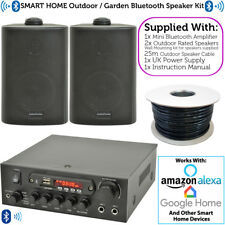 Outdoor Bluetooth Speaker Kit – 2x Black – Karaoke/Stereo Amp Garden BBQ Parties