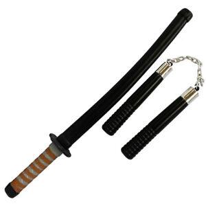 FAKE KATANA AND NUNCHUCKS SWORD TOY FANCY DRESS PROP PLASTIC NUNCHAKU SAMURAI
