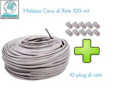 CAVO DI RETE 100 MT ETHERNET UTP LAN RJ45 NETWORK INTERNET 10 PLUG CAT5