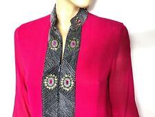 SABEENA fuchsia silk crepe embellished tunic - blouse - size XL - beach dress