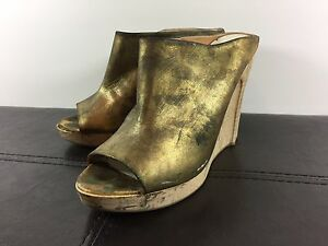 Maison Martin Margiela Leather Wooden Heel Wedges Shoes Paint Drip Gold 7.5 US