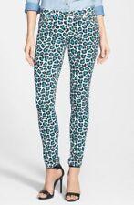NWT MSRP $125 MICHAEL KORS JET SET Leopard Print Skinny Jeans, Tile Blue, Size 0