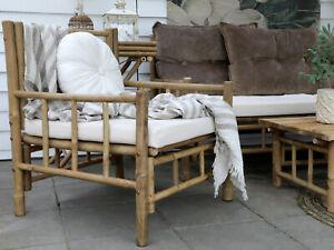 Gartenstuhl Sessel Bambus Stuhl inkl.Sitzkissen Gartensessel Lounge Chic Antique