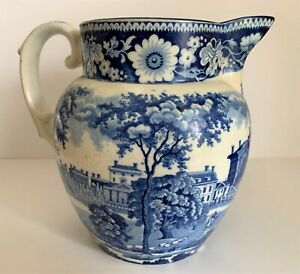 """Historical Staffordshire Pitcher - """"State House, Boston"""""""