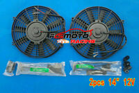 2PCS 14'' inch 12V Electric Radiator Push/Pull Cooling Thermo Fan+ Mounting Kits