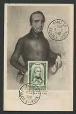 FRANCE MK 1948 LAMARTINE DICHTER POET MAXIMUMKARTE CARTE MAXIMUM CARD MC d4853