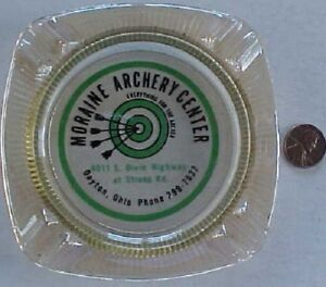 1960s Era Dayton Ohio Dixie Highway Moraine Archery Center bullseye ashtray!