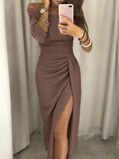US Women Sexy Off Shoulder Long Sleeve Bodycon Evening Cocktail Party Long Dress