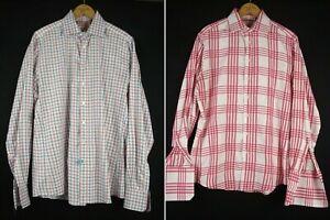sz 15.5/39cm & 16/41cm Lot of 2 THOMAS PINK Dress Shirt Plaid