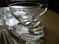 Hazel Atlas Glass FLOWER PETAL Atc15 Snack Plate Cup/s (big)