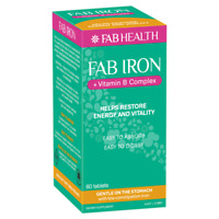 Fab Iron + Vitamin B Complex 60 Tablets Gentle Low Constipation Iron Energy