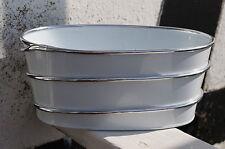 Pflanzschale aus Metall, weiß mit Chrom Verzierung, Länge 24 cm Übertopf NEU