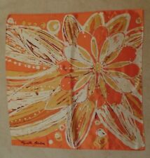 "Elizabeth Arden Vintage 1970's Orange Abstract Floral Acetate Scarf, 26"" X 26"""