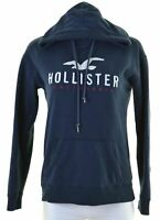 HOLLISTER Womens Hoodie Jumper Size 10 Small Navy Blue Cotton Loose Fit  GI19