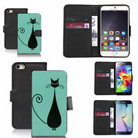 pu leather wallet case for lots of Mobile phones - blue black cat