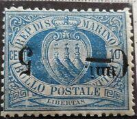 SAN MARINO 1892 STEMMA 5 C. SU 10 C. VARIETA' N.8a G.I MLH